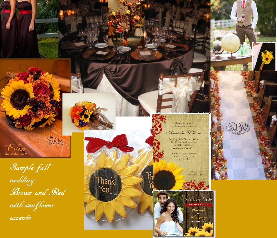 A sample inspiration board of a beauiful fall wedding